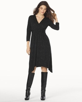 3/4 Sleeve Scarf Hem Midi Dress