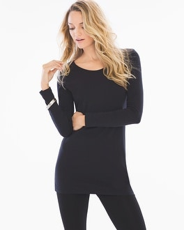 Live. Lounge. Wear. Pima Cotton Tunic Length Long Sleeve Tee Black