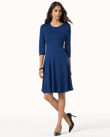 3/4 Sleeve Fit and Flare Dress Royal
