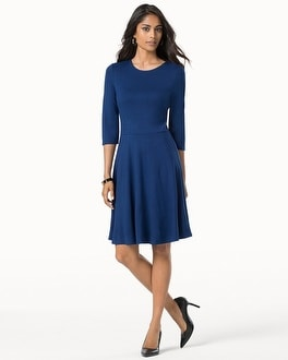 Leota 3/4 Sleeve Fit and Flare Dress Royal