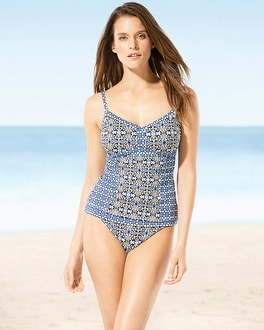 Tommy Bahama Tile Medallion Tankini Top