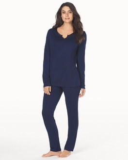 Cozy Fleece Long Sleeve Pajama Set Navy-Navy