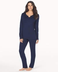 Cozy Fleece Long Sleeve Pajama Set Navy