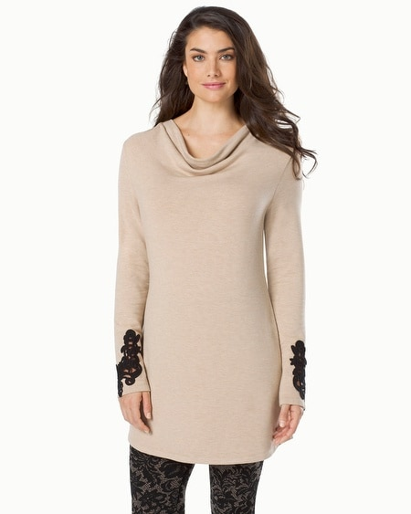 Fleece Tunic with Lace Applique Heather Gold