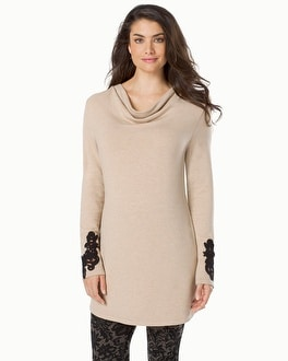 Live. Lounge. Wear. Fleece Tunic with Lace Applique Heather Gold