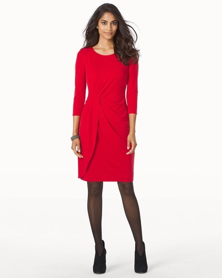 Long Sleeve Knot Front 3/4 Sleeve Red Short Dress