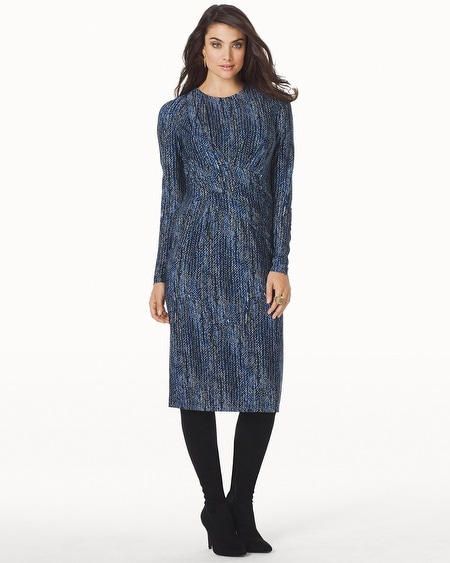 Long Sleeve Side Drape Short Dress Azurite Multi