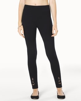 Live. Lounge. Wear. Fleece Leggings with Lace Applique