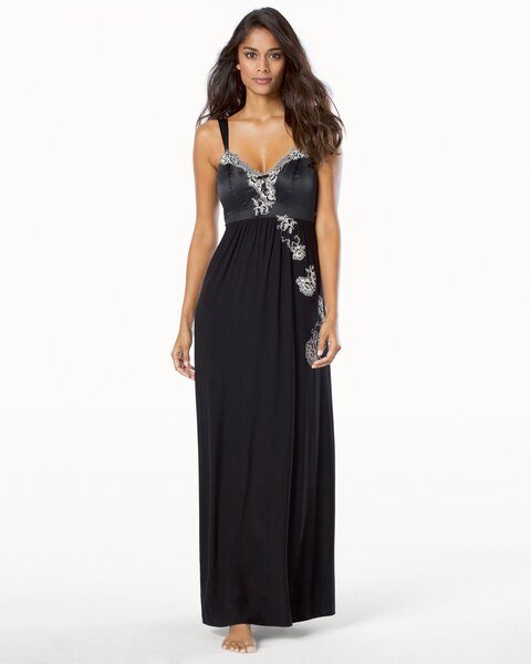 Satin and Lace Adorned Long Nightgown - Soma
