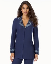 Alluring Satin and Lace Adorned Button-front Pajama Top Navy With Celestial Blue