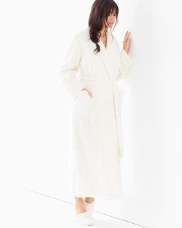 Embraceable Luxe Marble Long Robe Ivory
