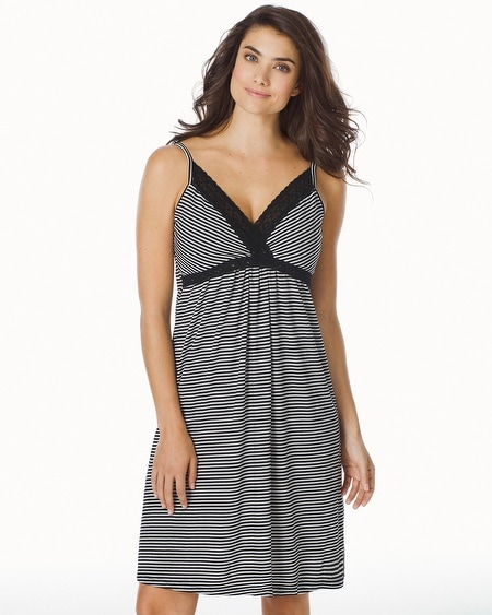 Striped Nursing Chemise Black/White Stripe