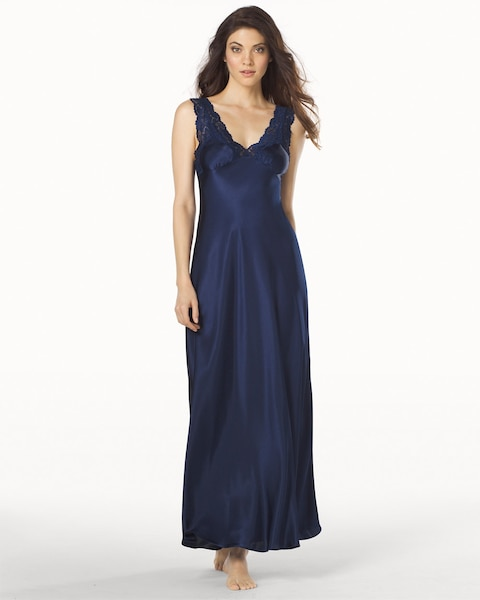 Taylor Long Satin Nightgown Navy - Soma
