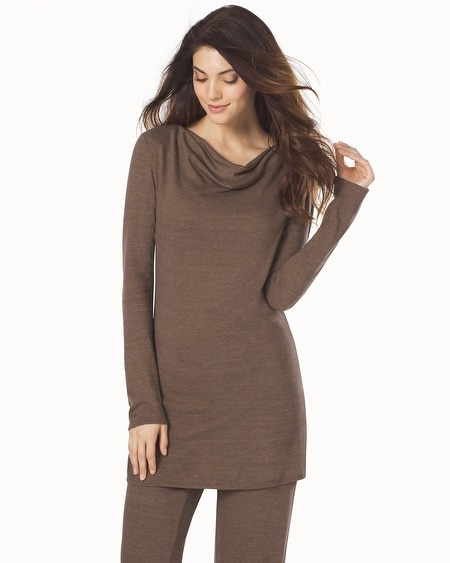 Cosi Long Sleeve Cowl Neck Top Taupe
