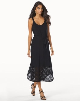 Shirt Tail Midi Cover Up Dress With Lace Black