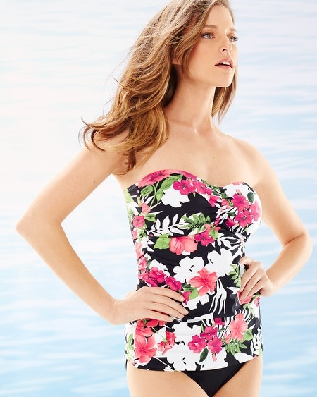 Victoria Blooms Shirred Bandeau Swim Tankini Top