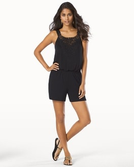 Cover Up Romper with Lace Applique