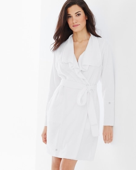 Baby Terry Cotton Blend Short Robe White