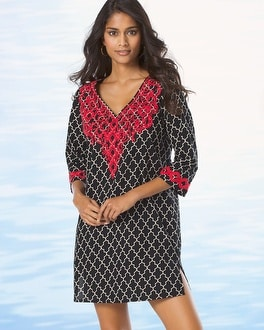 Cotton Embroidered Tunic Cover Up Surfside Tile Black