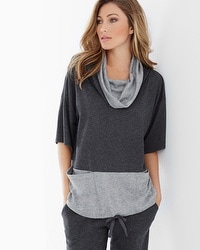 Midnight by Carole Hochman Funnelneck Lounge Top Charcoal Heather/Heather Grey