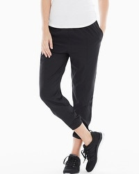 Midnight by Carole Hochman Woven Jogger Pants Black