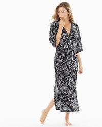 Oscar de la Renta Embroidered Cotton Long Robe Black With Ivory Embroidery