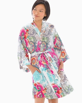 Cool Nights Kimono Sleeve Short Robe Boho Patched Paisley e4d41a49c