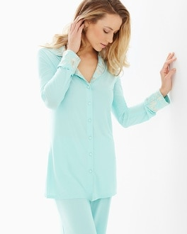 Limited Edition Intrigue Notch Collar Pajama Top Eggshell Blue