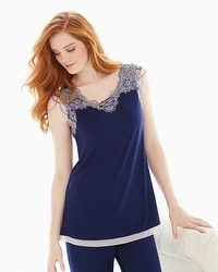 Floral Trellis Lace Short Sleeve Pajama Top Navy/Light Nude