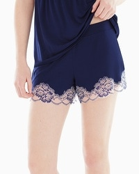 Floral Trellis Lace Pajama Shorts Navy/Light Nude