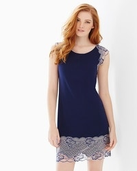 Floral Trellis Lace Sleepshirt Navy/Light Nude