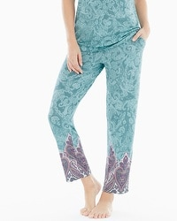 Embraceable Cool Nights Ankle Pajama Pants Lustrous Paisley Jade Border