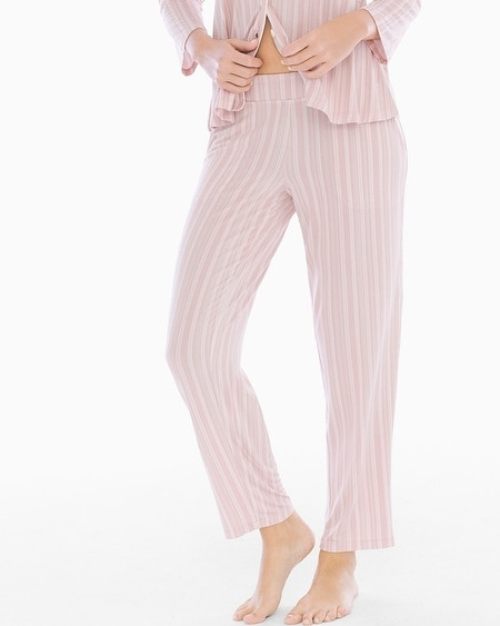 Ankle Pajama Pants Finespun Stripe Pink