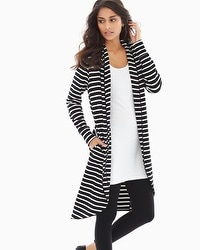 Live. Lounge. Wear. Divine Terry Midi Wrap Great Stripe Black