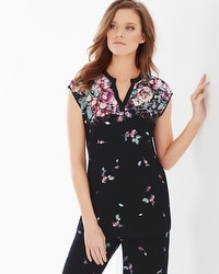 Embraceable Cool Nights Pop Over Cap Sleeve Pajama Top Botanical Bouquet Black Border