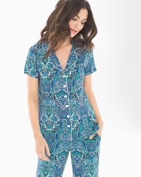 Cool Nights Notch Collar Short Sleeve Pajama Top