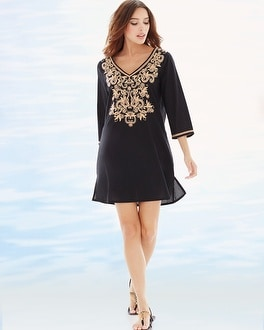 Embroidered Cotton Tunic Swim Cover Up Black