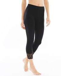 Live. Lounge. Wear. Lace Hem Crop Leggings Black