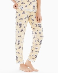 Embraceable Cool Nights Lace Trim Ankle Pajama Pants Patisserie Lemon