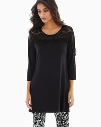 Live. Lounge. Wear. Soft Jersey Lace Detail Tunic Black