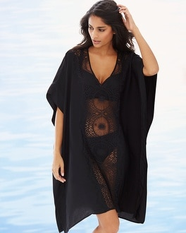Chiffon Crochet Caftan Swim Cover Up Black
