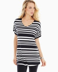 Live. Lounge. Wear. Soft Jersey Short Dolman Sleeve Tunic Dynamic Stripe Black