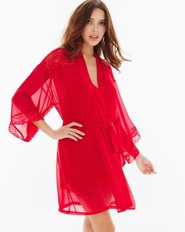 In Bloom by Jonquil Brielle Sheer Short Robe Red