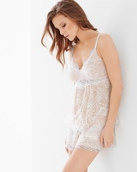 Delicate Lace Tap Pajama Set Ivory/Light Nude