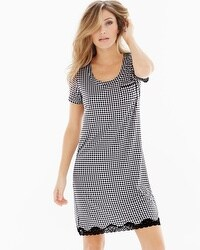 Embraceable Cool Nights Short Sleeve Sleepshirt Gingham Ivory