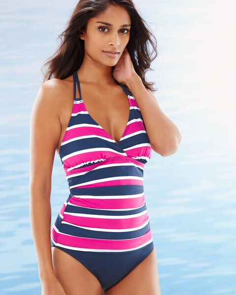 9f4e10a4703 Return to thumbnail image selection Nautical Striped Halter Tankini Swim Top  video preview image, click to start video