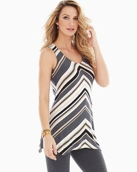 Live. Lounge. Wear. Soft Jersey Scoop Scarf Hem Tunic Spirited Stripe Heather Quartz