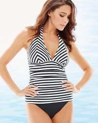Tommy Bahama Stripes V-Neck Halter Tankini Swim Top