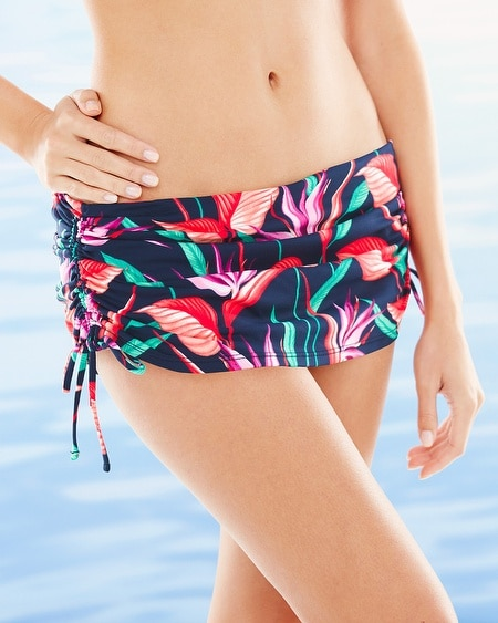 Birds of Paradise Adjustable Skirted Swim Bottom Multi
