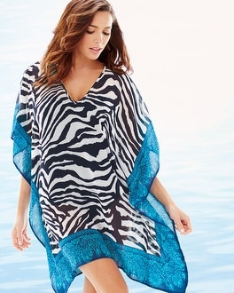Tommy Bahama Zebra Tunic Cover Up Mare/White